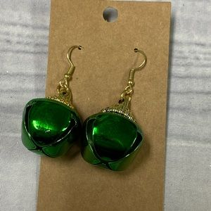 Green and gold bell ornament earrings